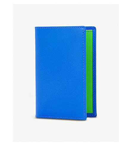 COMME DES GARCONS Super flourescent leather card holder (Blue