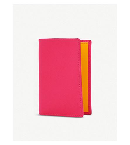 COMME DES GARCONS Super flourescent leather card holder (Pink