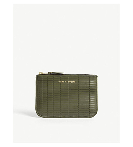 COMME DES GARCONS Brick-embossed leather pouch (Khaki