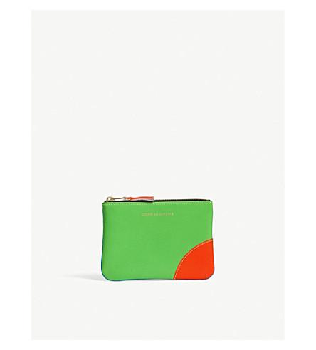 COMME DES GARCONS Super-fluorescent leather pouch (Blue green