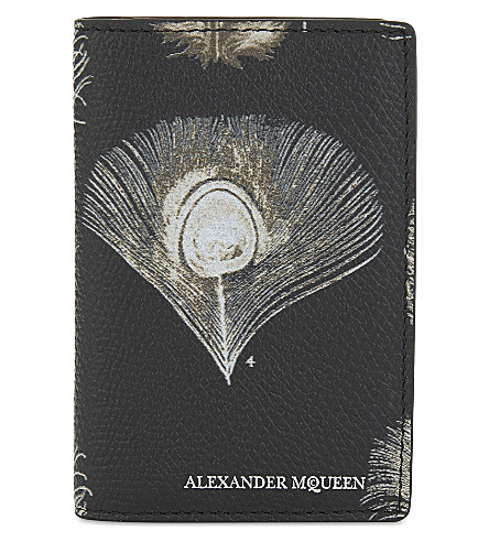 ALEXANDER MCQUEEN Peacock leather card holder (Black/off+white