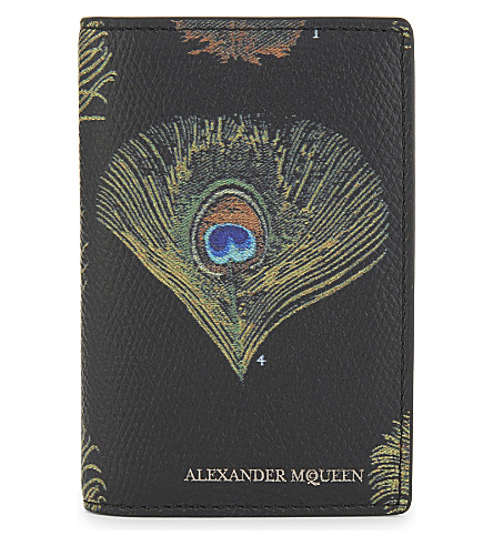 ALEXANDER MCQUEEN Peacock leather card holder (Black/multicolor