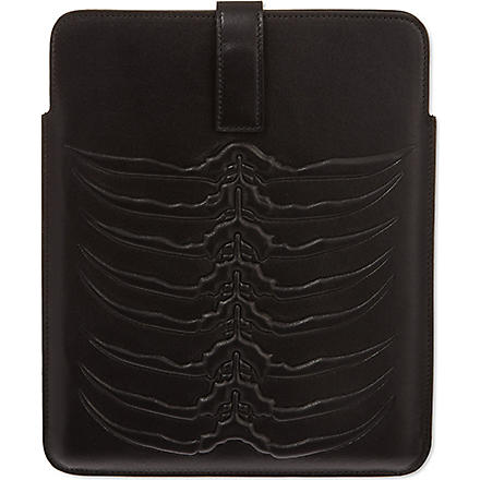 ALEXANDER MCQUEEN Ribcage leather iPad case (Black