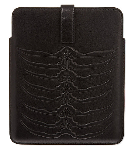 ALEXANDER MCQUEEN Ribcage leather iPad case (Black