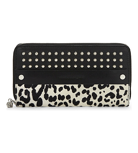 ALEXANDER MCQUEEN Leather studded wallet (White/black