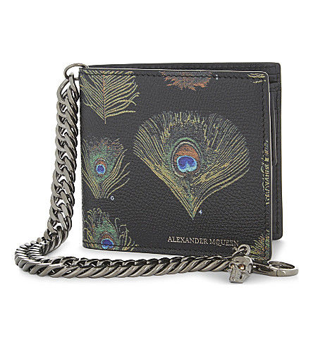 ALEXANDER MCQUEEN Peacock leather wallet with chain (Black/multicolor