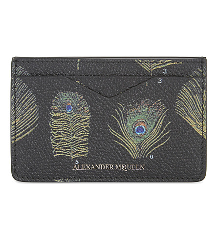 ALEXANDER MCQUEEN Peacock feather print leather card holder (Black/multicolor