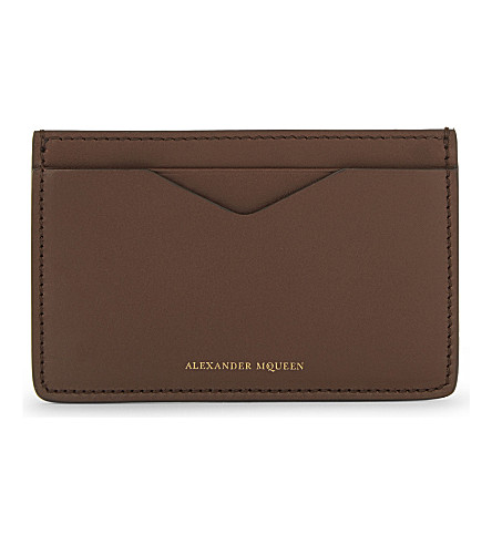 ALEXANDER MCQUEEN Classic leather card holder (Tan