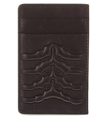 ALEXANDER MCQUEEN Ribcage leather card holder (Black