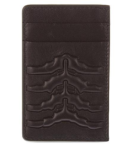 ALEXANDER MCQUEEN Ribcage leather card holder (Black
