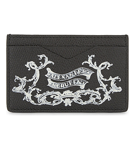 ALEXANDER MCQUEEN Coat of Arms leather card holder (Black/ivory