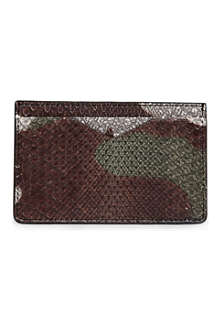 ALEXANDER MCQUEEN Camo python skin credit card holder