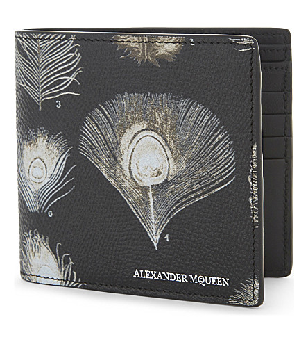 ALEXANDER MCQUEEN Peacock textured leather wallet (Black/off+white