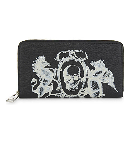 ALEXANDER MCQUEEN Skull crest leather long wallet (Black/off+white