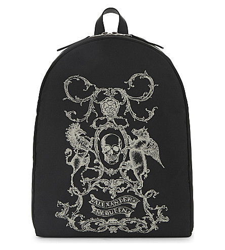 ALEXANDER MCQUEEN Coat of Arms print backpack (Black