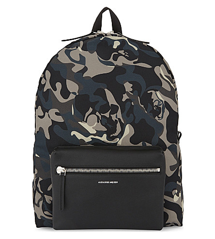 ALEXANDER MCQUEEN Nylon camouflage backpack (Blk/blue