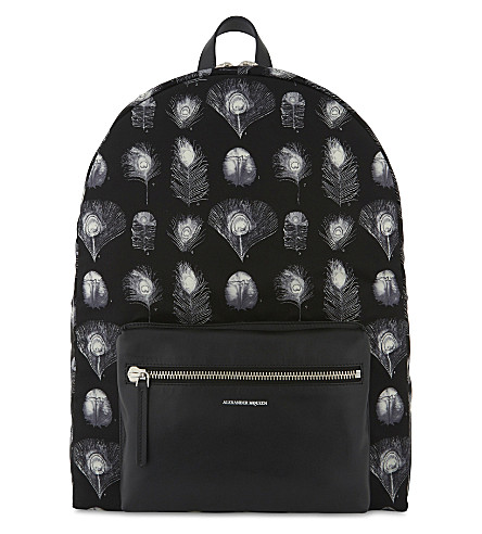 ALEXANDER MCQUEEN Peacock feather print nylon backpack (Black/off+white