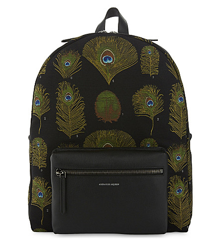 ALEXANDER MCQUEEN Peacock canvas and leather backpack (Multicolor