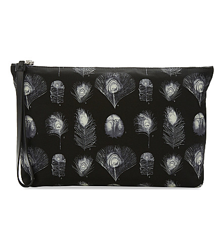 ALEXANDER MCQUEEN Peacock pouch (Black/off+white