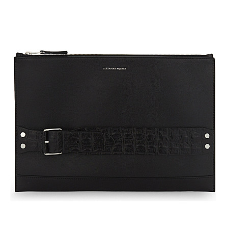 ALEXANDER MCQUEEN Crocodile-effect strap leather pouch (Black