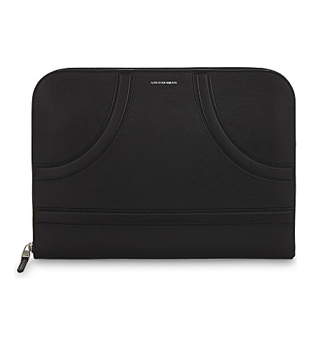 ALEXANDER MCQUEEN Harness leather portfolio (Black