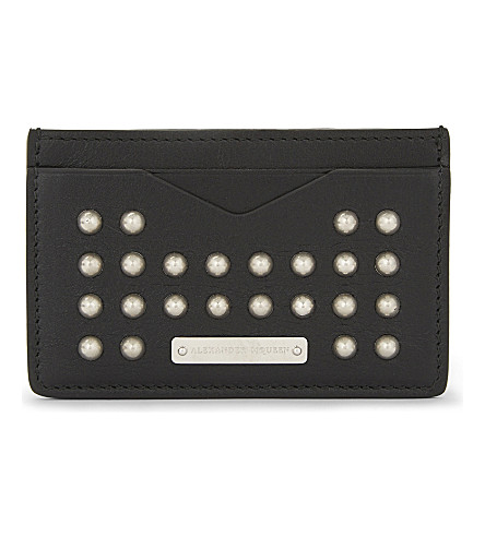ALEXANDER MCQUEEN Studded leather card holder (Black/silver