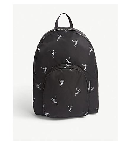 ALEXANDER MCQUEEN Dancing skeleton nylon backpack (Black+off+white
