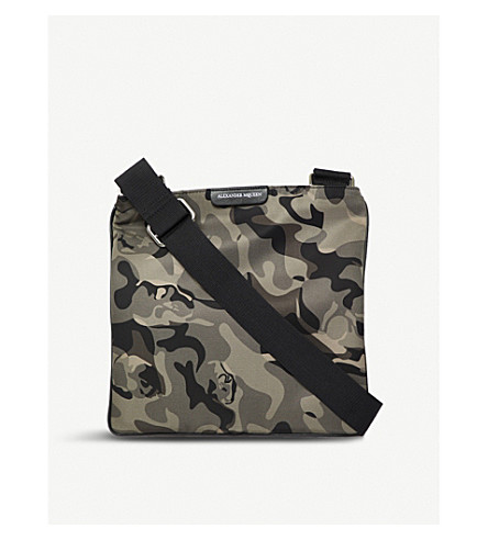 ALEXANDER MCQUEEN Camouflage leather-trim twill messenger bag (Military