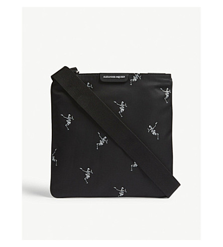 ALEXANDER MCQUEEN Dancing Skeleton nylon cross-body bag (Black+off+white