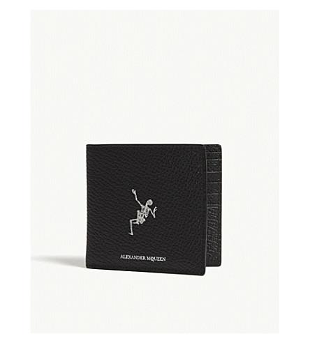 ALEXANDER MCQUEEN Dancing skeleton leather billfold wallet (Black+off+white