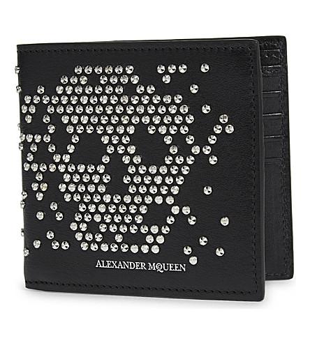 ALEXANDER MCQUEEN 头骨镶嵌皮革皮夹钱包 (黑色