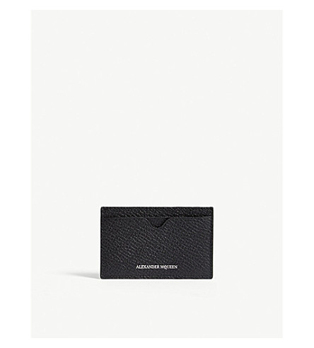 ALEXANDER MCQUEEN Logo pebbled leather card holder (Black