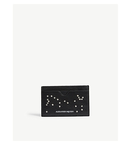 ALEXANDER MCQUEEN Studded leather card holder (Black