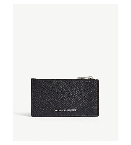 ALEXANDER MCQUEEN Zipped leather card holder (Black