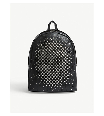 ALEXANDER MCQUEEN Stud skull grained leather backpack (Black