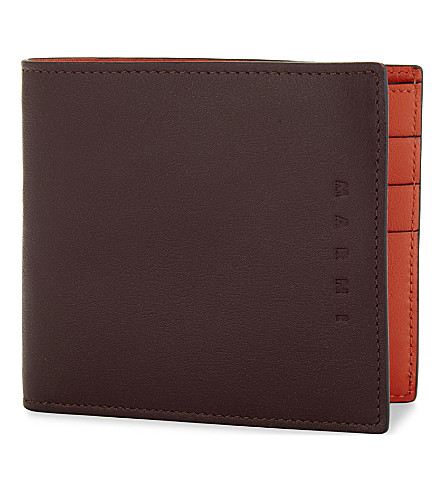 MARNI Two-tone bi-fold wallet (Burgundy/orange