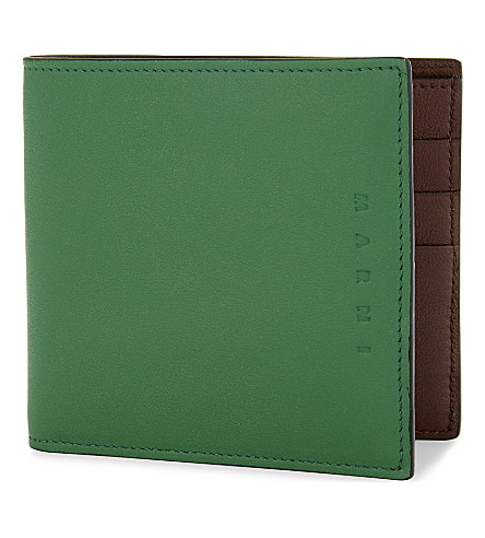 MARNI Two-tone bi-fold leather wallet (Green/brown