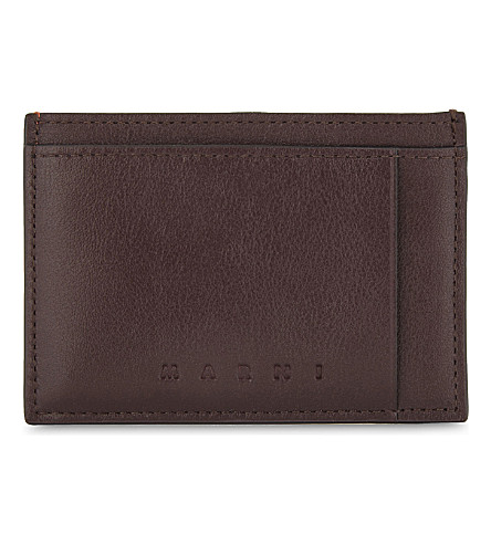 MARNI Smooth leather cardholder (Burgundy/orange
