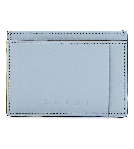 MARNI Smooth leather cardholder (Light+blue/navy