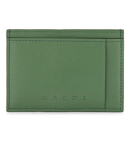 MARNI Smooth leather cardholder (Green/brown