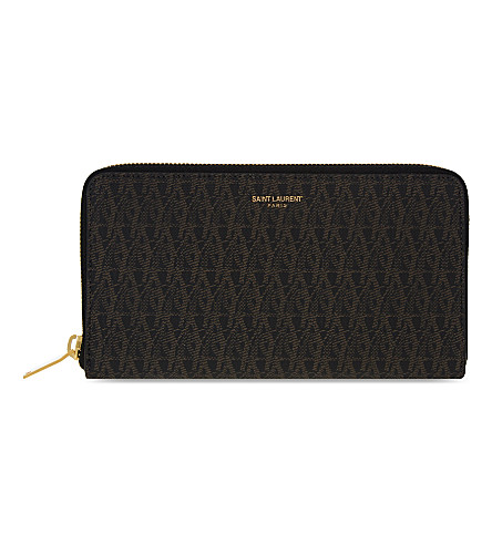 SAINT LAURENT Monogram zipper-around leather wallet (Brown