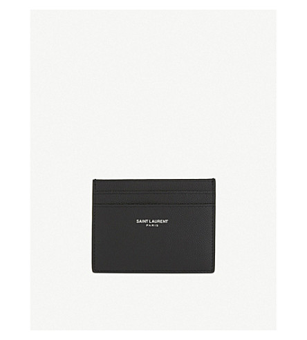 SAINT LAURENT Logo pebbled leather card holder (Black