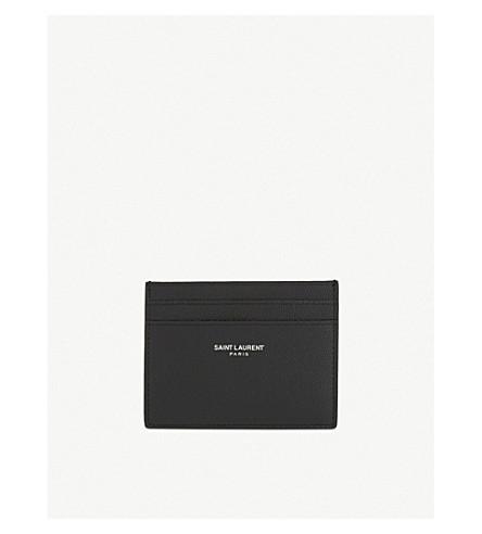 SAINT LAURENT Logo pebbled leather card holder