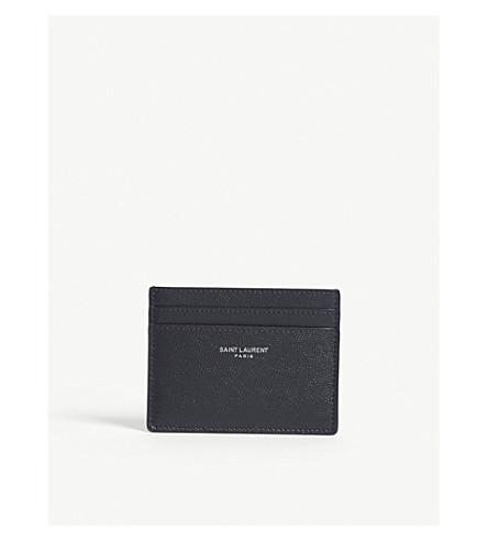 SAINT LAURENT Logo pebbled leather card holder (Navy