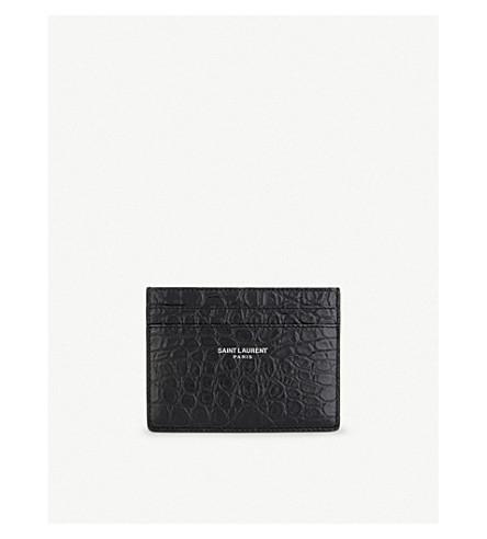 SAINT LAURENT Leather crocodile embossed card holder (Black