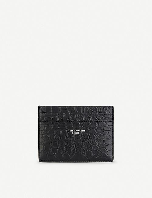Card holders mens bags selfridges shop online saint laurent leather crocodile embossed card holder colourmoves