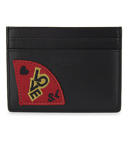 SAINT LAURENT Love patch leather card holder (Black