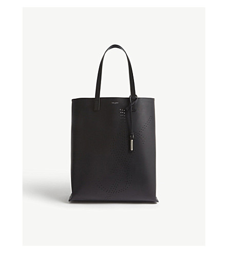 SAINT LAURENT YSL recycled leather tote (Black
