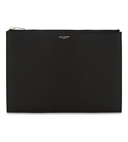 SAINT LAURENT Pebbled leather tablet pouch (Black