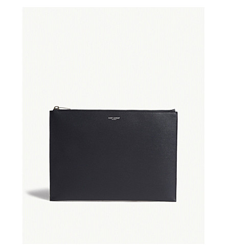 SAINT LAURENT Pebbled leather tablet pouch (Navy